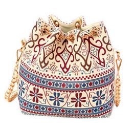 FG1509 2015 New Fashion Female Bag Canvas Bags Draw String Chain Shoulder Women Bag Folk National Wind Bucket Bag Handbag Caual