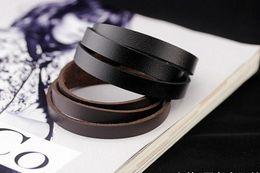 Wholesale New Men s leather bracelet fashion men punk rock multi layers ID Identification unisex rope wristband black jewelry gift brown drop shipping