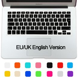 Wholesale-New EU UK Keyboard Silicone Protector Stickers Skin For Apple MacBook Air 11 11.6 Keyboard Cover