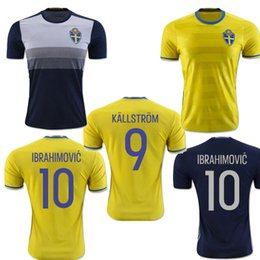 Wholesale Sweden jersey home yellow IBRAHIMOVIC away black KALLSTROM thai quality men Sweden football shirt soccer jersey