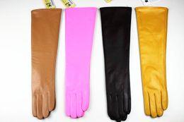 Wholesale new long sheepskin gloves bag mail female cm long straight multicolor leather gloves