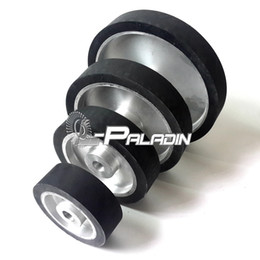 "4 pieces of 6"" 8"" 10"" 12"" Assorted 50mm Width Flat Belt Grinder Rubber Contact Wheel working with Sanding Belt"