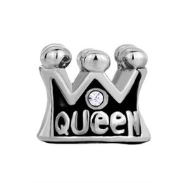 Fashion Jewelry Big Hole Beads Crystal Queen Crown European Metal Bead Charms Bracelets Fit All Brands