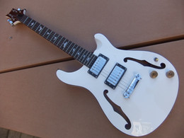New Arrival China model 6 String Electric Guitar semi hollow body in white 100928