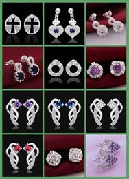 925 Silver jewelry crystal Charming women girls nail Earrings 10Pairs Mix 12 style Choices Earrings Best gift