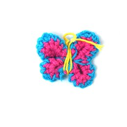 Wholesale 100pcs Beautiful Children Garment Sewing x2 cm Turquoise Hand Crochet Butterfly Kids Hair Band Dress Clothes Accessories DH GFA081