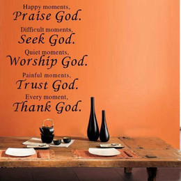Wholesale bible verse every moment thank god Wall quote sticker living room religious Wall Stickers home decor q0012