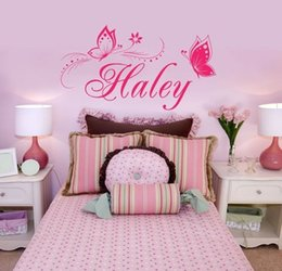 Butterfly Wall Stickers Customer-made Any Name whit Personalized Vinyl Wall Decals for Bedroom Gilrs' Room Decor
