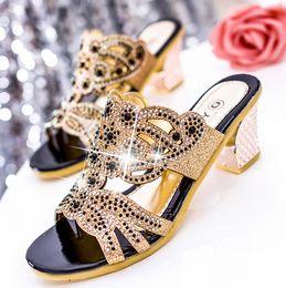 Sexy Fashion Women Shoes slippers Womens High heels Sandal Platform Sandals Pumps Summer Rhinestone Shoes Shoe Heel 6cm