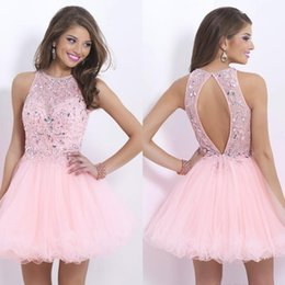 Blushing Prom Homecoming Dresses Jewel Beads Crystal Short Party Dresses Graduation Skirts Sweety New Arrival W6062