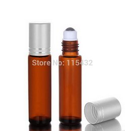 Wholesale- AMBER Thick 10ml (1 3oz) Glass Roll On Essential Oils Bottle Perfume Fragrances Vial + Stainless Steel Roller Ball Factory price