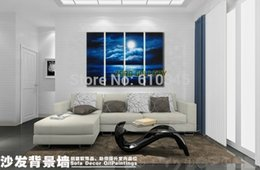 Wholesale modern abstract Landscape bluesky ocean oil painting large canvas painting sunset gift home ideas wall stickers home decor