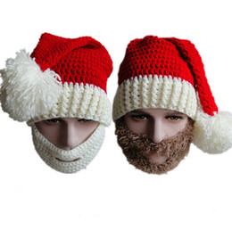 Wholesale New Christmas Scarves Hats Adult Warm Full Beard Beanies Mustache Mask Face Warmer Knit Ski Winter Hat Winter Cap Kids Winter Beard Hat