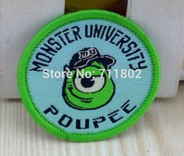 Wholesale MIKE Sew on Woven label clothes patches Animated cartoon embroidered kid s love accessories