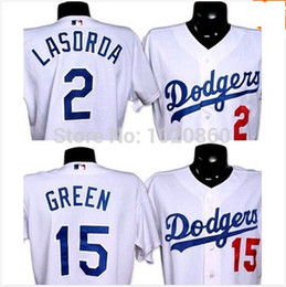 Wholesale los angeles dodgers Cheap Mens Authentic Shawn Green Tommy Lasorda Baseball jersey for sale stitched size S XL