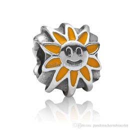 Wholesale 2014 New Smile Sun Flower design Sterling Silver European Screw Bead Charm Handmade Antique Jewelry For Snake Bracelet Chain