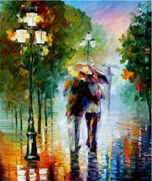 Wholesale New Romantic Frameless Pictures Painting By Numbers DIY Digital Oil Painting On Canvas Walking In The Rain Home Decor x50cm