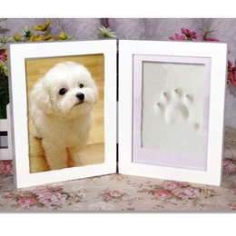 Wholesale Omylike Wooden Air Dry CLAY PHOTO FRAME KIT with Acrylic covers Keepsake Deluxe Pet Print Pawprint Kit dog print cat prints