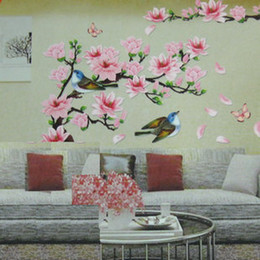 3D New Cherry Peach Blossom Flower Branch Butterfly Removable PVC Art Wall Sticker Wall Decor Decals DIY