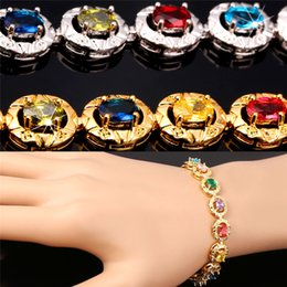 U7 Luxury Colorful Cubic Zirconia Bracelet for Women Jewelry 18K Real Gold Platinum Plated Round Shape Chain Bracelet Perfect Gift