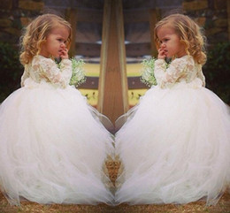 2015 Long Sleeve Lace Sweet Flower Girl Dress For Weddings Vintage Ball Gown Chapel Train Tulle Prom Dresses for Girls sh00109