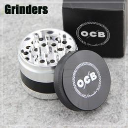 Wholesale OCB Grinders Tabacco Herbal Grinders Layers Aluminium Alloy Grinder mm Metal Grinders VS Sharpstone Grinders