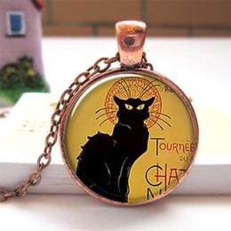 Le Chat Noir pendant charm cat jewelry resin pendant black cat necklace Glass Photo Cabochon Pendant O151