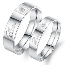 OPK Stainless Steel Couple Rings Korean Jewelry lock key his and hers promise ring sets 316L Lover Rings