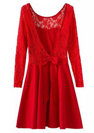 Long Sleeve Backless Lace Red Dress for women Summer Party Black Sexy women's dress casual Open Back ladies dresses Robes Gowns