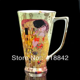 Wholesale Fine Bone China Rare Gustav Klimt Kiss Art Coffee Set Tea Mug Cup