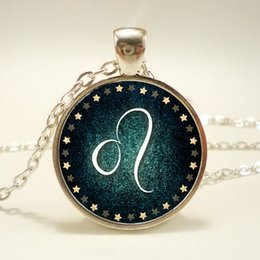 Wholesale 10pcs Leo Necklace Zodiac Sign Pendant Constellation Jewelry Glass Cabochon Necklace