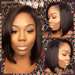 Wholesale New bob cut wigs short lace front wigs with bangs glueless lace front wig human hair bob wig with baby hair for african american black women