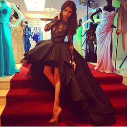 Black High Low Prom Dresses 2016 Jewel Long Sleeve Lace Top Ruched A line Special Party Evening Gowns Custom made