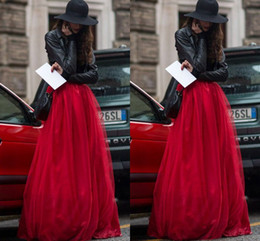 2015 New Arrival Red Tulle Skirt Tiered Brisk Puffy Long Women Skirt Fairy Adult Tutu A Line Plus Size Vintage Skirts for Women