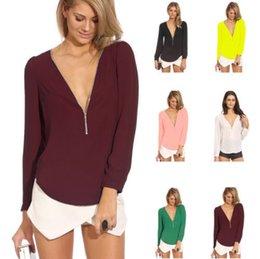 Wholesale New Sexy Deep V Neck Women Chiffon T shirt Tops Zipper Long Sleeve Slim Hoody Basic Tee Solid T Shirt