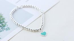 blue heart 316 stainless steel titanium custom jewelry fashion round bead bracelet hand bead girl's gift bangle bracelet bangles indian