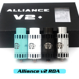 Wholesale Vaporizer Alliance V2 RDA Clone Rebuidable Atomizers Adjustable Airflow Square Insulator With Wide Bore Drip Tips Fit Mechanical Mods DHL