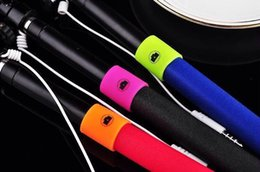 Wholesale Best Audio cable phone camera self timer shutter for iphone Samsung Portrait controler handheld Selfie stick mm not bluetooth monopod