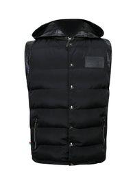 Fall-P P Luxury Brand Vest Hooded Jacket For Men PU Leather Button Metal Skull Vest Tops Hood Cotton Down Coat Sleeveless Jacket Men
