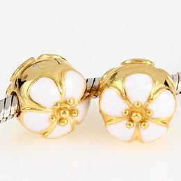 Wholesale authentic sterling silver jewelry gold white enamel sakura clips bracelets lock clasp charms fits pandora charms bracelets