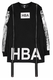 Wholesale New Boy Streetwear Tees Men s hba hood by air Spinal Cord X ray Double Zippers Casual long Sleeve T Shirts Men Hip Hop T shirt