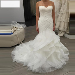 Gorgeous Mermaid Wedding Dresses 2016 Sweetheart Pleats Ruffles Court Train High Quality Bridal Gowns Custom Made