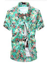 2016 New Men Floral Shirts M-2XL Fashion Casual Slim Fit Camisas Business Dress Floral Print Homme Shirts
