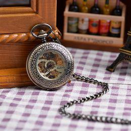 Wholesale Men Fashion Vine Mechanical Copper Clock Watch Roman Numeral Dial New Hot Sale Steampunk Skeleton Mechanical Pocket Watch