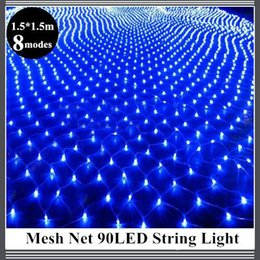 Rgb led net en Ligne-1.5 * 1.5m 96 Led 8 modes de flash 220V EU plug Multicolore filet lumière de la chaîne Noël Nouvel An Décoration Outdoor Holiday Light