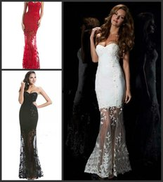 Wholesale Strapless Prom Dress Red Black Lace Celebrity Dresses Strapless See Through Tulle lACE uP Sheath White Wedding Party Evening Dre