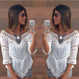 Hot 2016 Fashion Summer Bohemia Lace Women Blouse Half Sleeve V Neck Sexy Short Shirts Women Tops Free Shipping Beach Bikini Cover Up