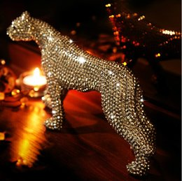Wholesale Shiny Diamond Golden Jaguar Art Crafts Ornaments Handmade Diy Ceramic Craft For Friend Gifts Home Table Decoration
