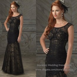Wholesale Black Beauty Formal Mermaid Lace Mother Of The Bride Dresses Stones Cap Sleeve Evening Gown M1386
