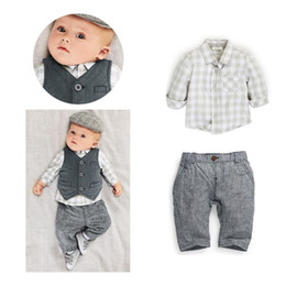 Baby Boys Clothing Sets Handsome Boys Shirts Vest Trousers Suit Gentleman Costumes Toddler 3PCS Set Hot Sale Grey Jacket Pants